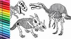 drawing and coloring dinosaurs skeleton how to draw and