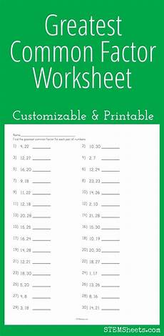 greatest common factor worksheet customizable and printable math stem resources pinterest