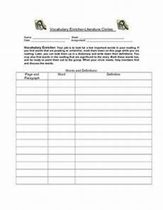 vocabulary enricher literature circles worksheet for 5th 7th grade lesson planet