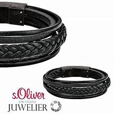 s oliver herren armband aus edelstahl lederarmband
