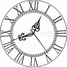 black and white clock with numerals and