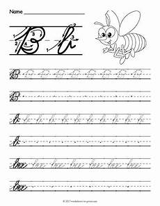 cursive handwriting worksheets free printable 21677 help learn how to write both an uppercase and a lowercase cursive letter b wi cursive