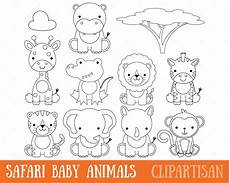 safari baby animals clipart digital sts coloring page