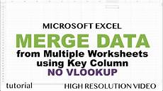 excel merge data from multiple sheets based key