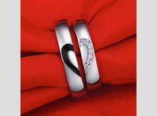 Black Baking Finish Half Heart Couple Ring, Personalized