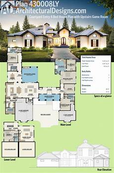 single level house plans with courtyard plan 430008ly courtyard entry 4 bed house plan with