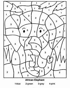 color by numbers elephant coloring page for kids printable ecoloringpage com printable