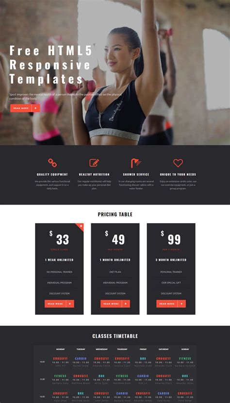 excellent gym website templates examples
