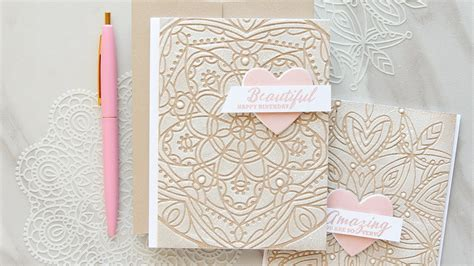 textured lace cards  stencils youtube