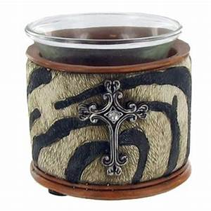 zebra print candle holder with cross for the home With kitchen colors with white cabinets with candle holders at hobby lobby