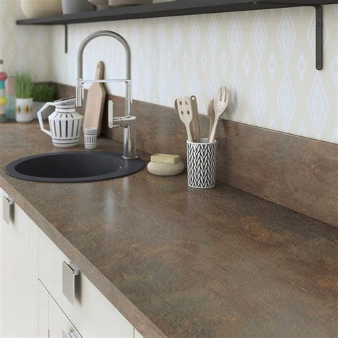 plans de travail cuisine plan de travail stratifié effet cuivre mat l 315 x p 65 cm