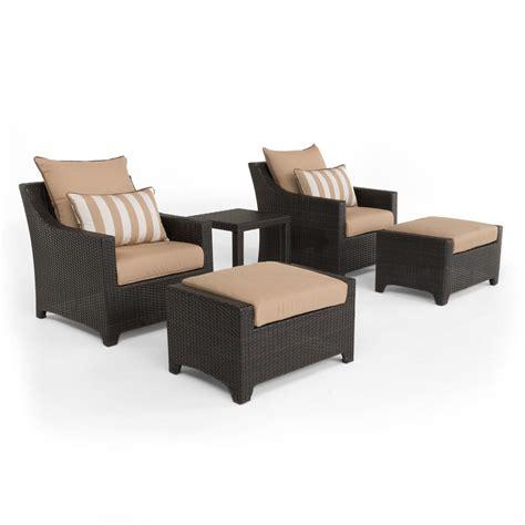 wicker chair with ottoman rst brands deco 5 piece all weather wicker patio club