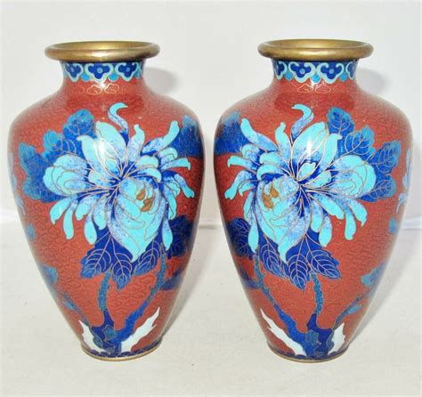 Pictures Of Antique Vases by Antique Pair Of Cloisonne Brick Vases With
