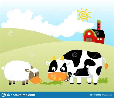 What did the philosopher pig say? Farm Field With Funny Animals And Barn, At Summer, Vector ...