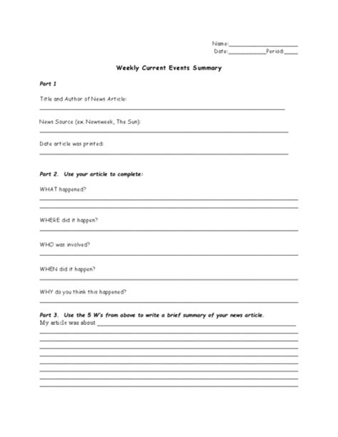 Weekly Current Events Summary Worksheet For 7th  12th Grade  Lesson Planet
