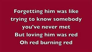 Red Taylor Swift Lyrics - YouTube