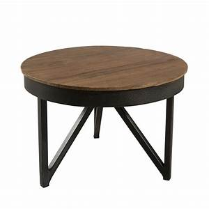 Table Basse Ronde Bois Metal : table basse ronde d 39 appoint 50 x 50 cm bois et m tal meubles macabane meubles et objets de ~ Teatrodelosmanantiales.com Idées de Décoration