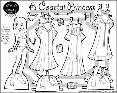 Paper Dolls Printable Princess Coastal Doll Coloring