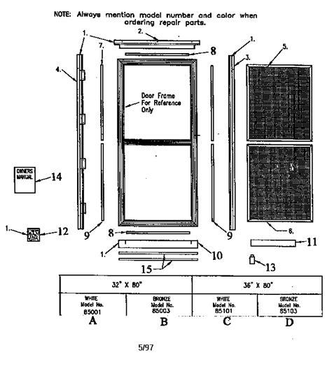 screen door parts sears screen door door parts model 94885101