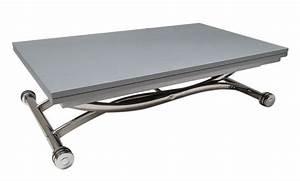 Petite Table Extensible : table basse high and low grise mat relevable extensible petite taille compacte ~ Teatrodelosmanantiales.com Idées de Décoration