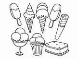 Sandwich Ice Cream Template Coloring Sketch sketch template