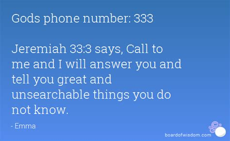 gods phone number 333 jeremiah 33 3 says call to me and