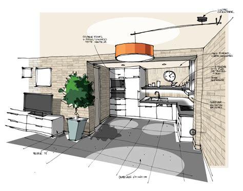 croquis cuisine cuisine ouverte sur salon béton ciré mur en briques