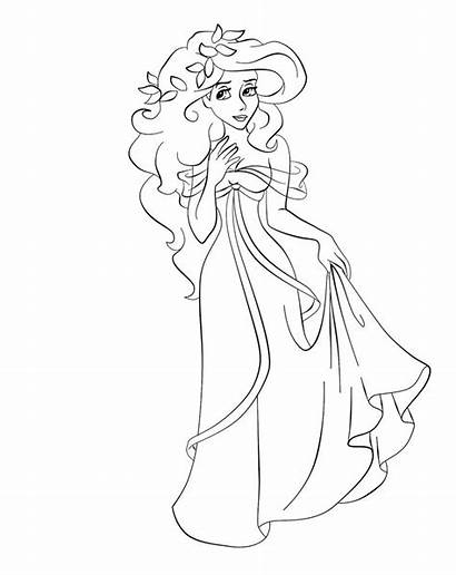 Coloring Hipster Ariel Disney Princess Giselle Template