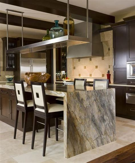 waterfall kitchen island 32 trendy and chic waterfall countertop ideas digsdigs 3362