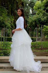 Alexandra tznius modest wedding dress with sleeves for Modest lace wedding dresses