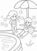 Pool Coloring Swimming Safety Getdrawings sketch template