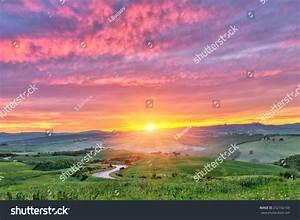 Beautiful Tuscany Landscape Sunrise Italy Stock Photo ...