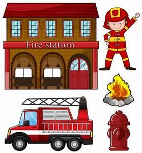 Bombero y estación de bomberos ilustración Descargar Vectores gratis