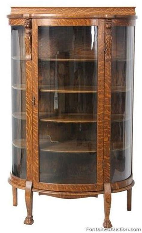 curved glass curio cabinet replacement carved oak china cabinet lot 390 estimate 500