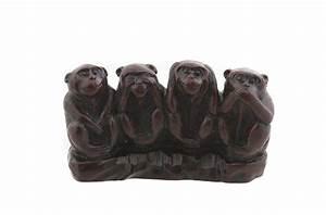 Statue Singe De La Sagesse : 3 singes de la sagesse rouge bordeaux en resine ~ Teatrodelosmanantiales.com Idées de Décoration
