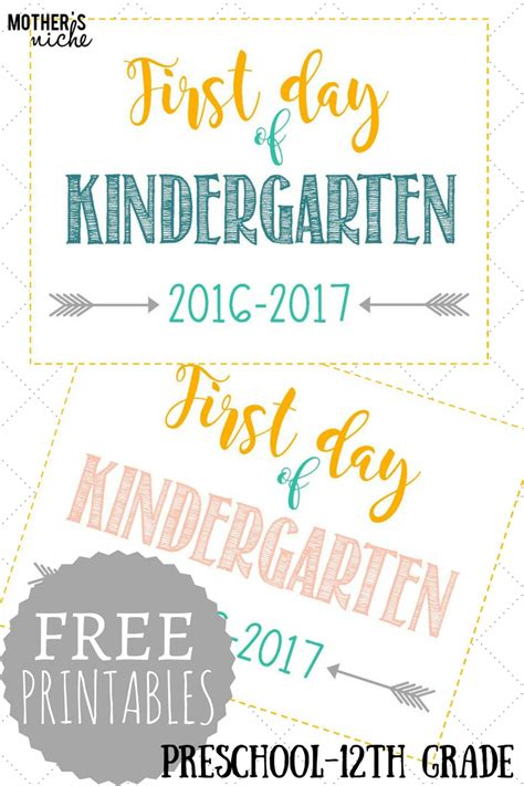 day of school signs free printables pre school 745 | FREE1
