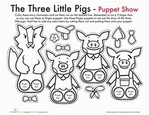 the three little pigs finger puppets worksheet With the three little pigs puppet templates