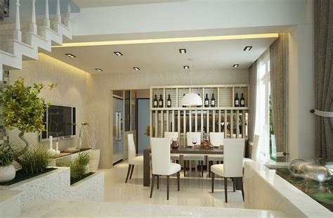 Interior Designs Filled With Texture by Dual Glass Display Cases Separate Dining Room From Kitchen
