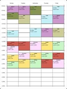 Online College Class Schedule Template