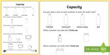 everyday objects capacity worksheet worksheet capacity water measure