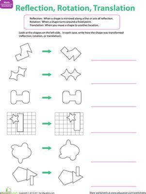 reflection rotation translation worksheet education
