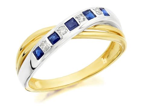 F.hinds Womens Ladies 9ct Two Colour Gold Sapphire Diamond