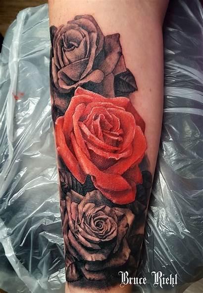 Tattoo Grey Realistic Rose Roses Tattoos Leg