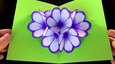 basteln mit papier blumen basteln mit papier blumen pop up karte basteln diy bastelideen geschenke selber machen