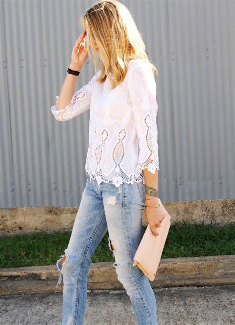 white lace top ripped jeans fashion jackson