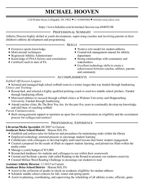 athletic director resume exles 28 images professional