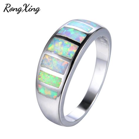 mysterious rainbow fire opal rings for women men wedding band vintage fashion white gold filled