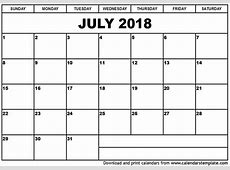 July 2018 Calendar Template 2018 calendar printable
