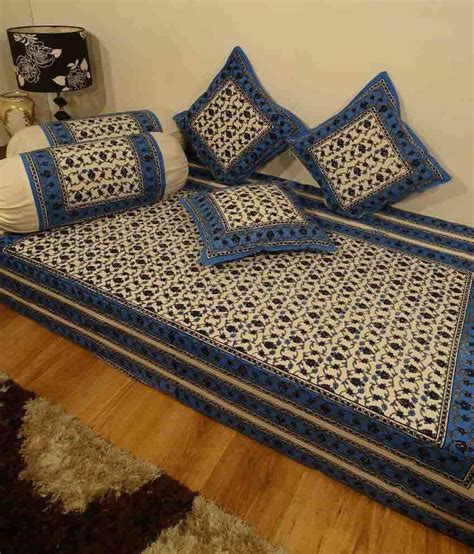 heritage blue floral cotton diwan set single bed sheet