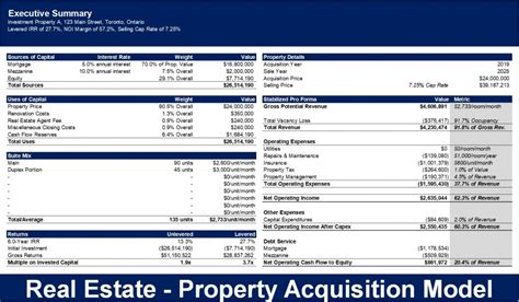 real estate property acquisition excel model template